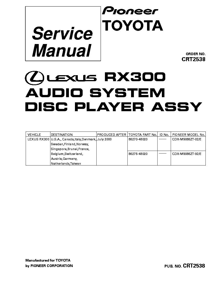 2003 lexus rx300 parts catalog