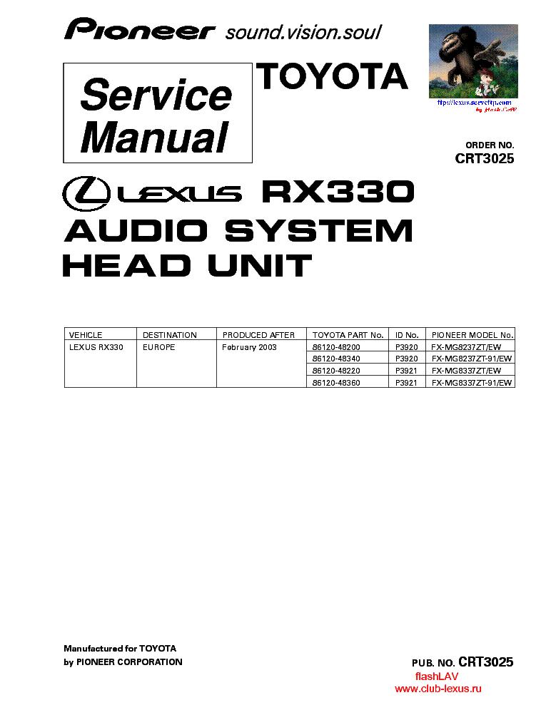 pioneer lexus rx330 fx