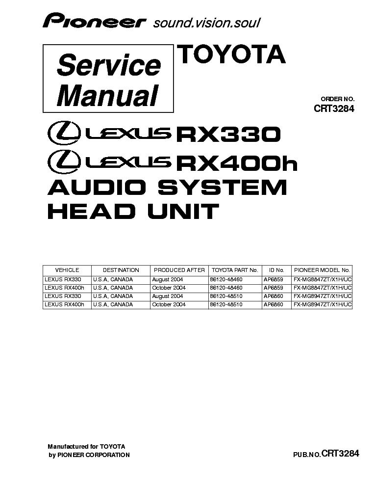 pioneer lexus rx330 rx400h fx mg8847 mg8947 crt3284 service manual rh elektrotanya com