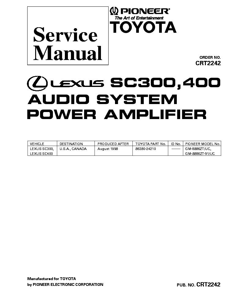 pioneer lexus sc300 sc400 gm