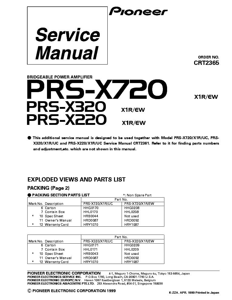 PIONEER PRS-X720 PRS-X320 PRS-X220 PARTS Service Manual download ...