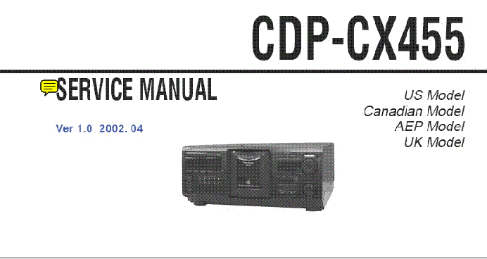 Sony cdp-cx400 cd player service manual on cd cdp-cx450, cdp-cx455.