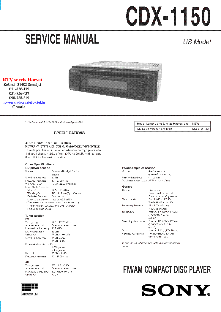 sony cdx 1150 service manual download, schematics, eeprom, repairsony cdx 1150 service manual (1st page)