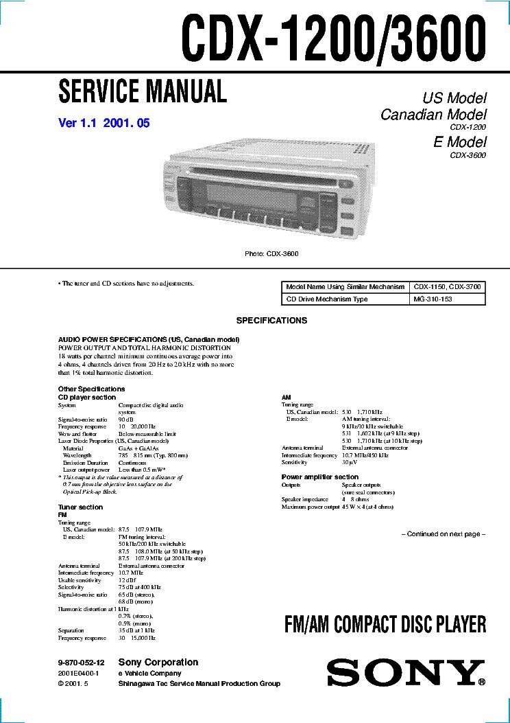 SONY CDX-1200 CDX-3600 VER1.1 SM Service Manual download, schematics ...