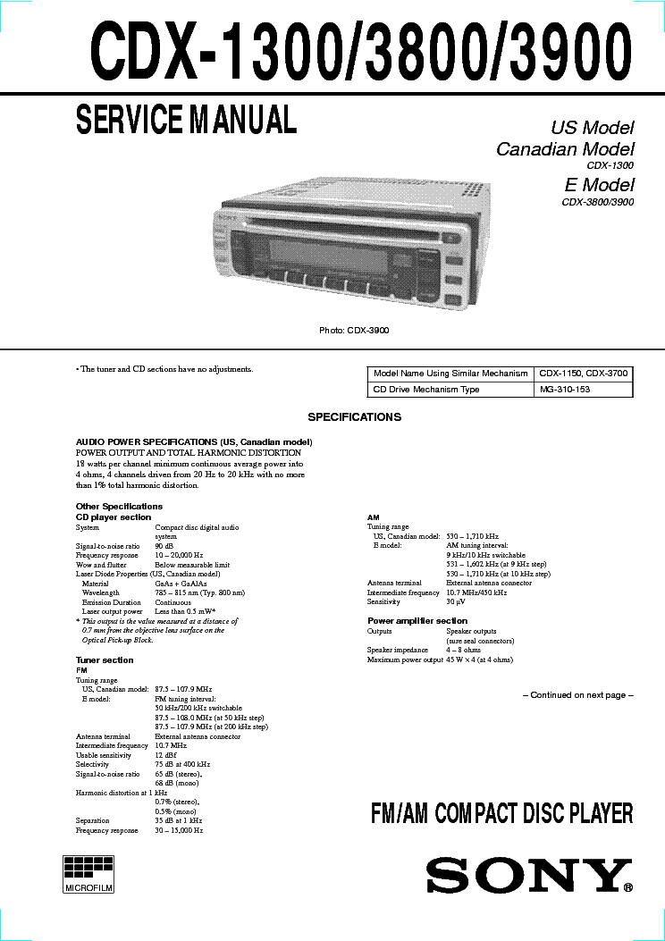 sony cdx 1300 cdx 3800 cdx 3900 sm service manual download rh elektrotanya com
