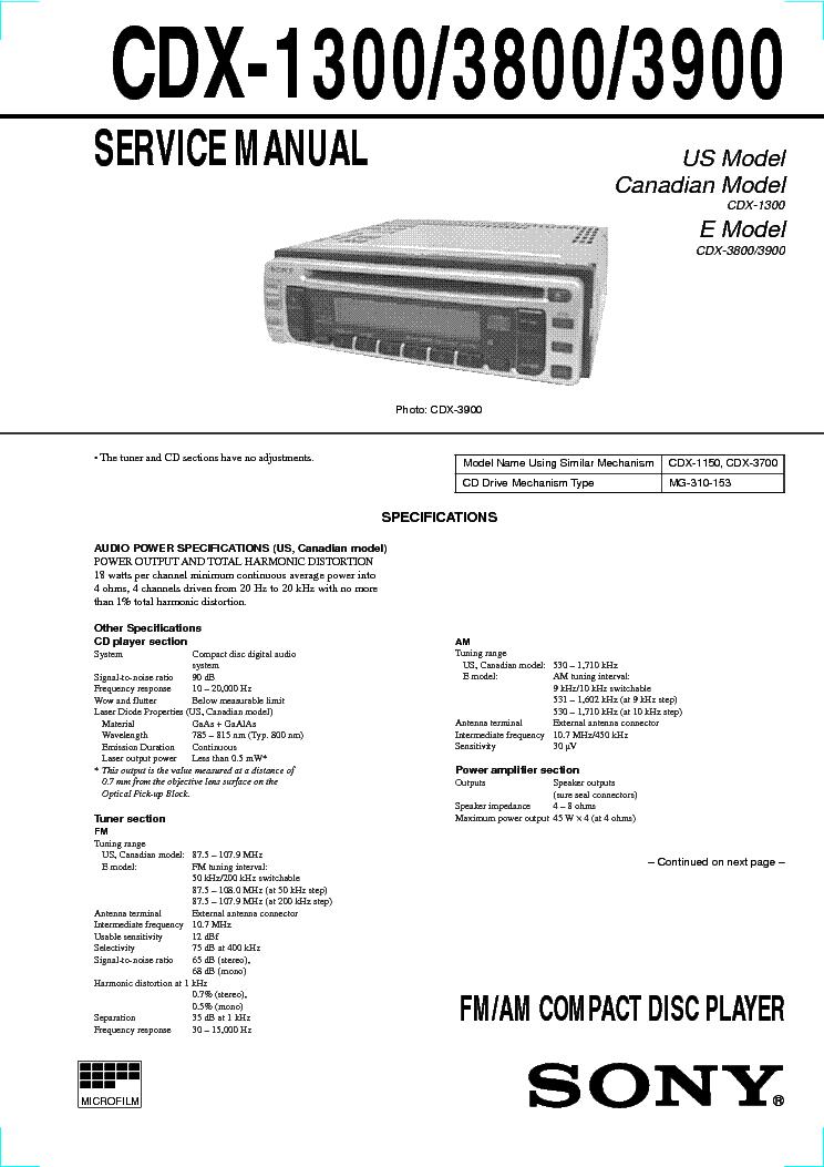 SONY CDX-1300 CDX-3800
