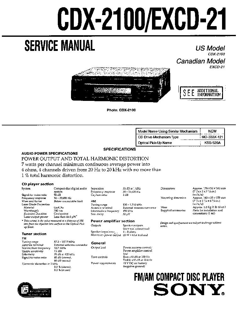 sony xr 2100 wiring diagram sony automotive wiring diagrams sony cdx 2100 excd 21 sm pdf 1