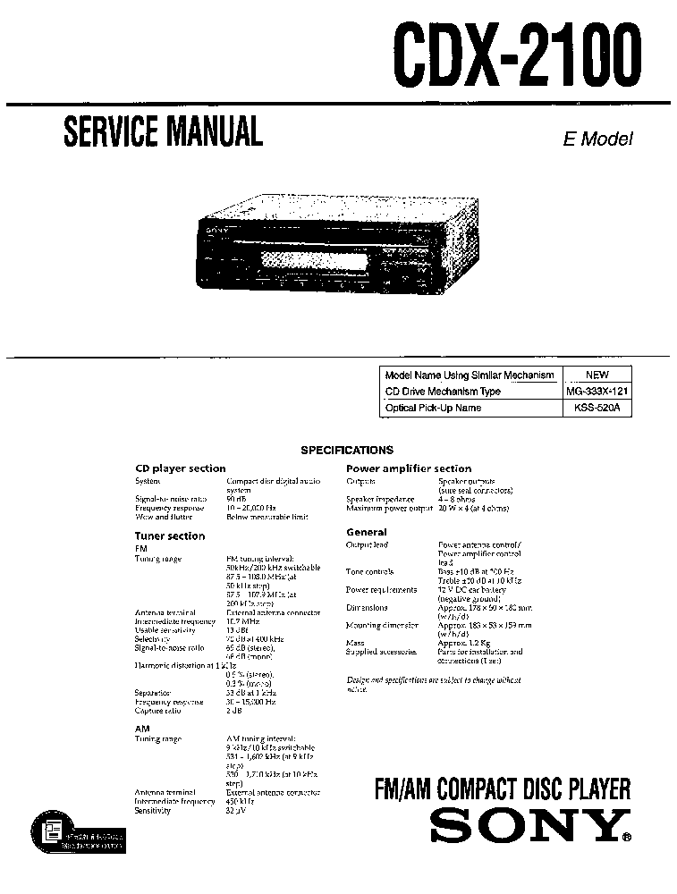 SONY CDX-2100 SM Service Manual download, schematics, eeprom, repair ...