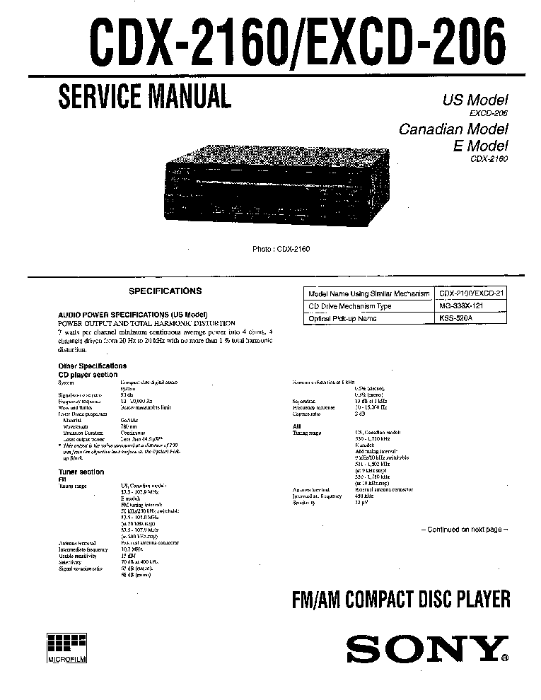 sony cdx 2160 excd 206 service manual download schematics eeprom rh elektrotanya com Sony Stereo Wiring Colors Sony Deck Wiring-Diagram