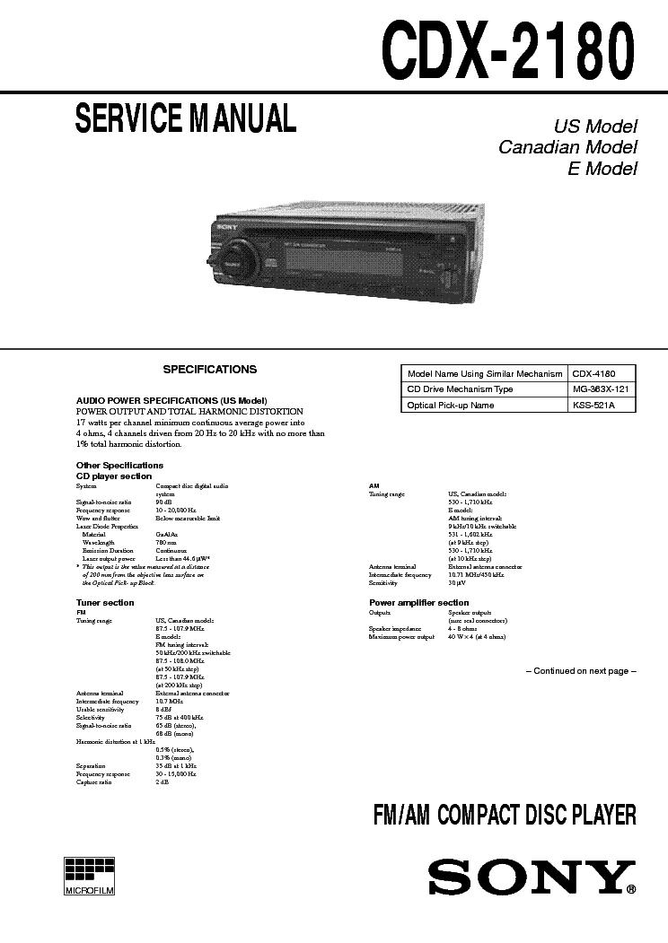 Sony CDX 4180 service manual.