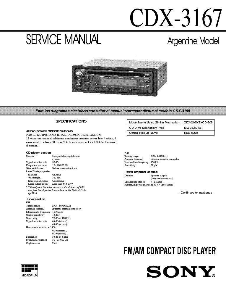 SONY CDX-3167 SM service