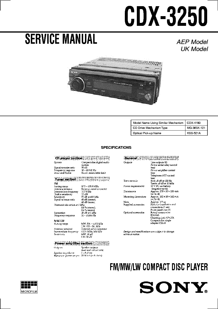 Sony model cdx gt wiring diagram