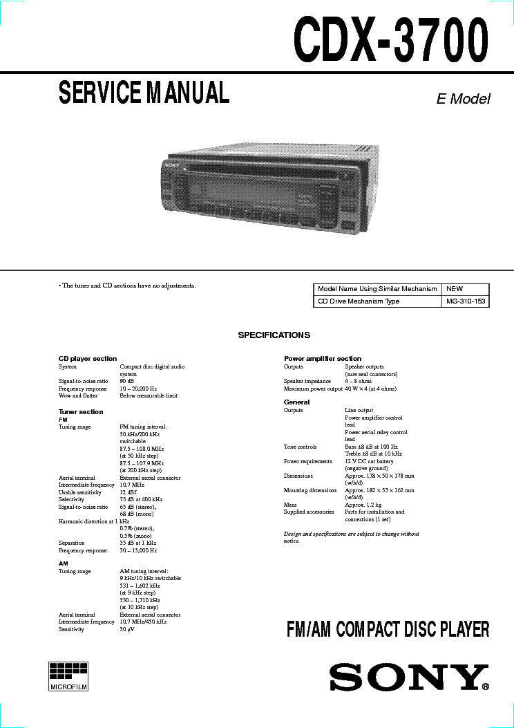 SONY CDX-3700 SM service