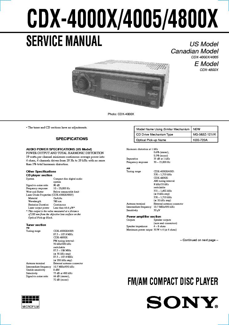 SONY CDX-4000X 4005 4800X