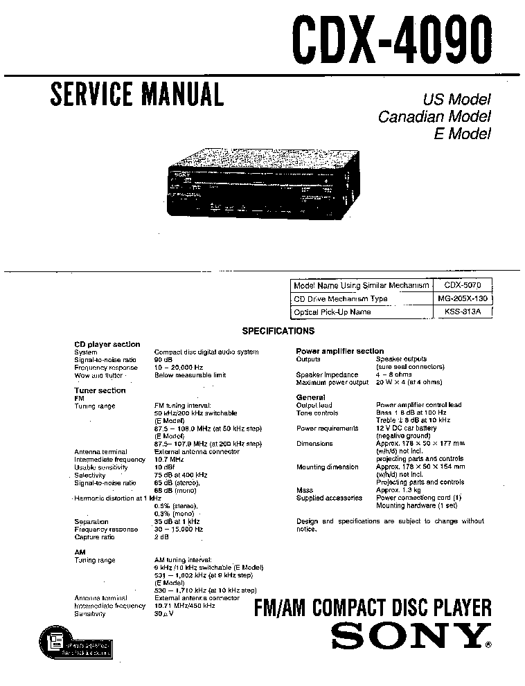 sony cdx 4090 service manual schematics eeprom sony cdx 4090 service manual 1st page