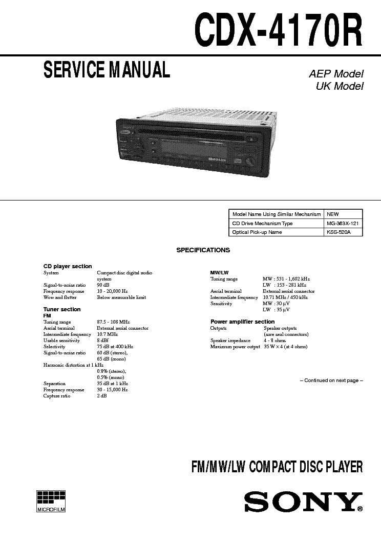SONY CDX-4170R SM