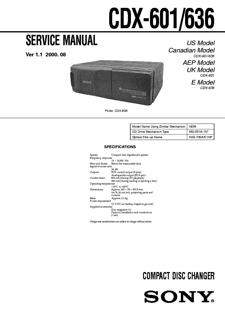 SONY CDX-601.636 SONY CDX-601