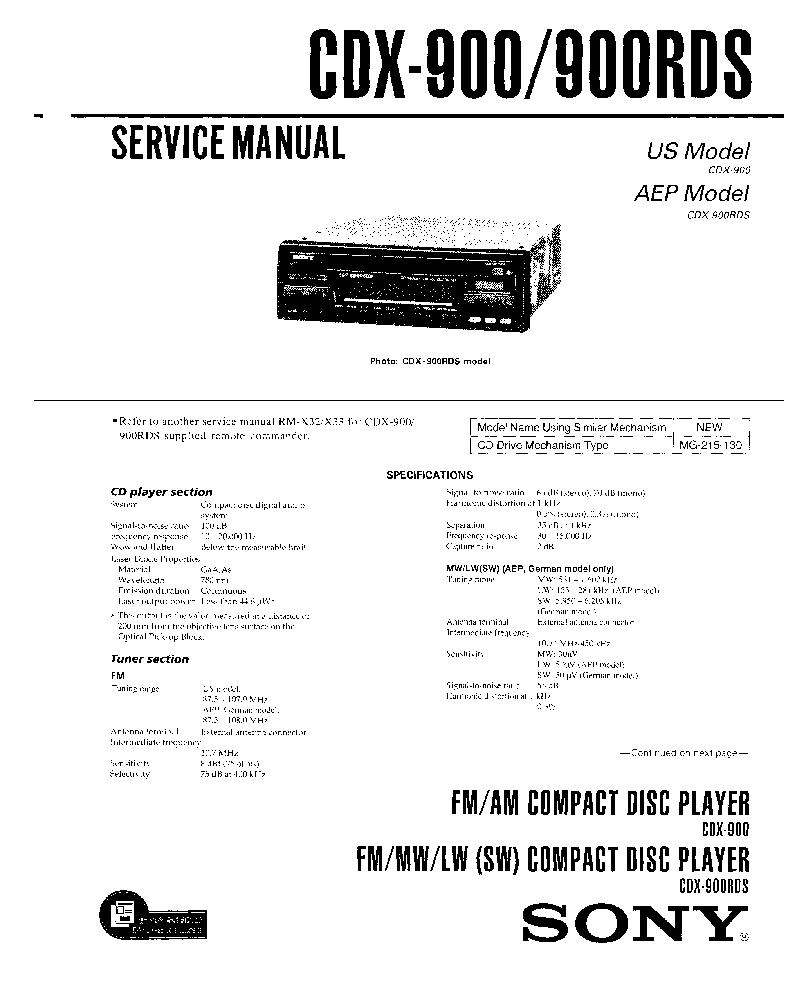 sony cdx 900 900rds sm service manual schematics sony cdx 900 900rds sm service manual 1st page