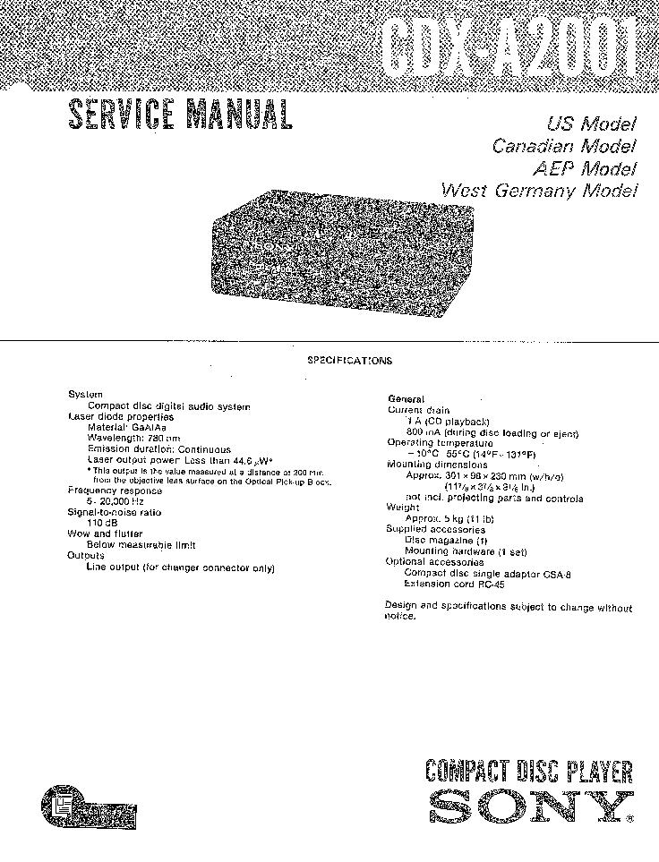 SONY CDX-A2001 service manual