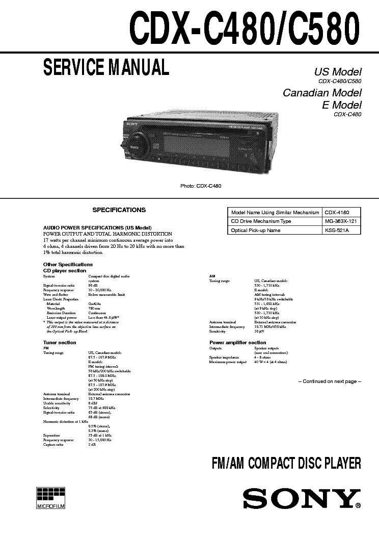 SONY CDX-C480 C580 SM 2