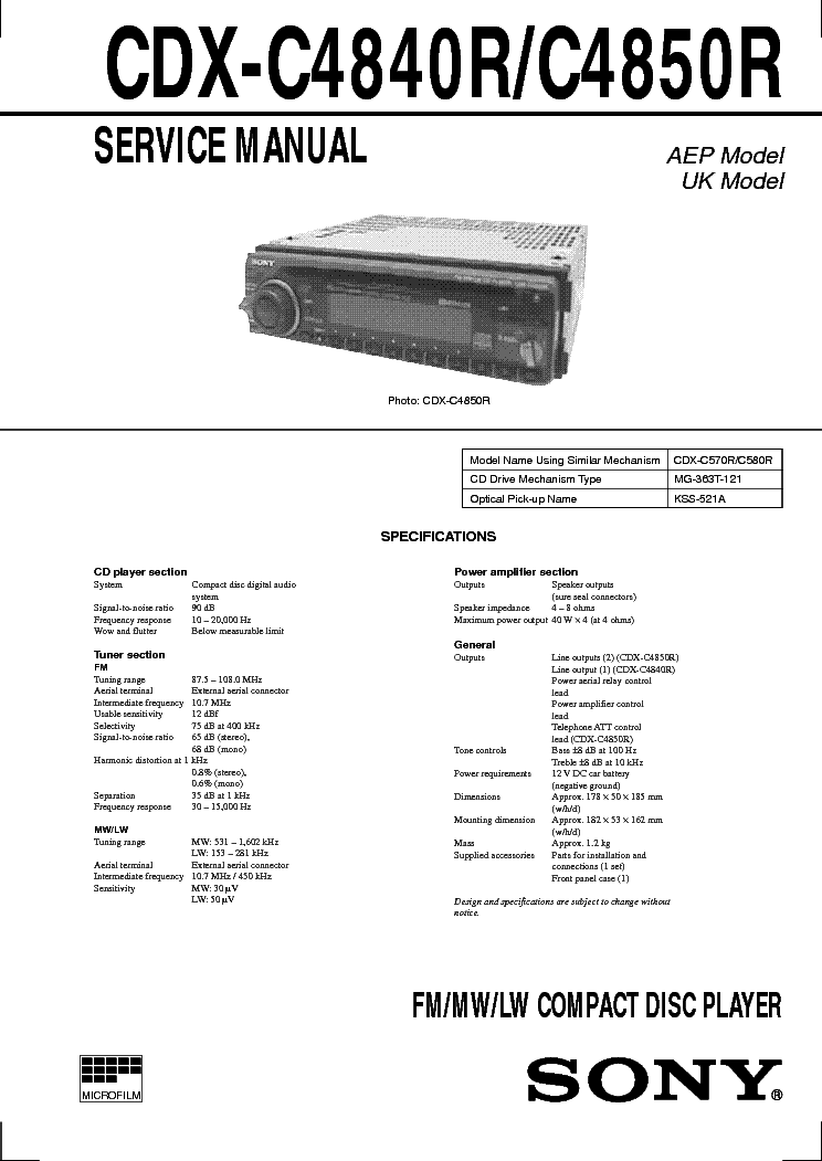 SONY CDX-C4840R 4850R SCH