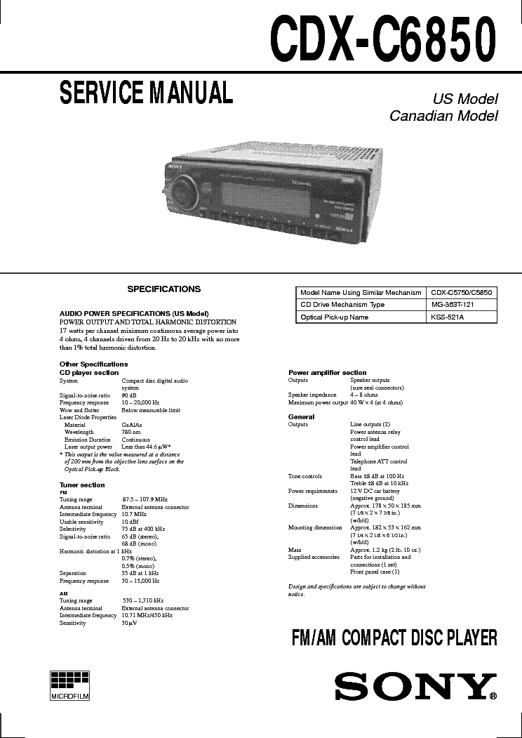 SONY CDX-C6850 service manual (1st page)