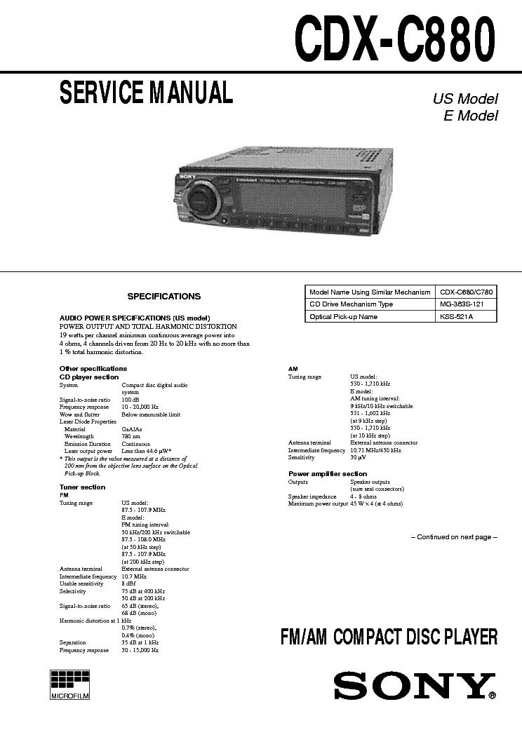 SONY CDX-4000X 4005 4800X Service Manual download, schematics ...