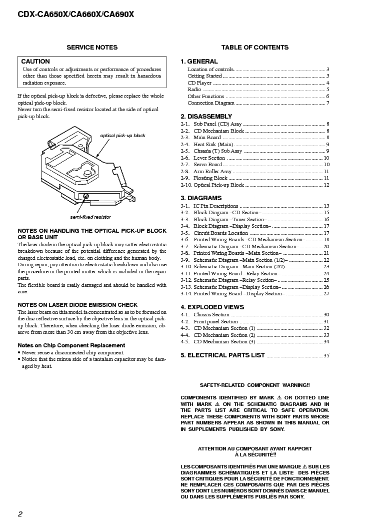 sony cdxca650x ca660x ca690x ver10 sm service manual