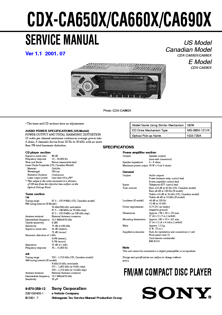 sony cdx ca650x ca660x ca690x ver 1 1 sm service manual download Sony Car Stereo Wiring sony cdx ca650x ca660x ca690x ver 1 1 sm service manual (1st page)