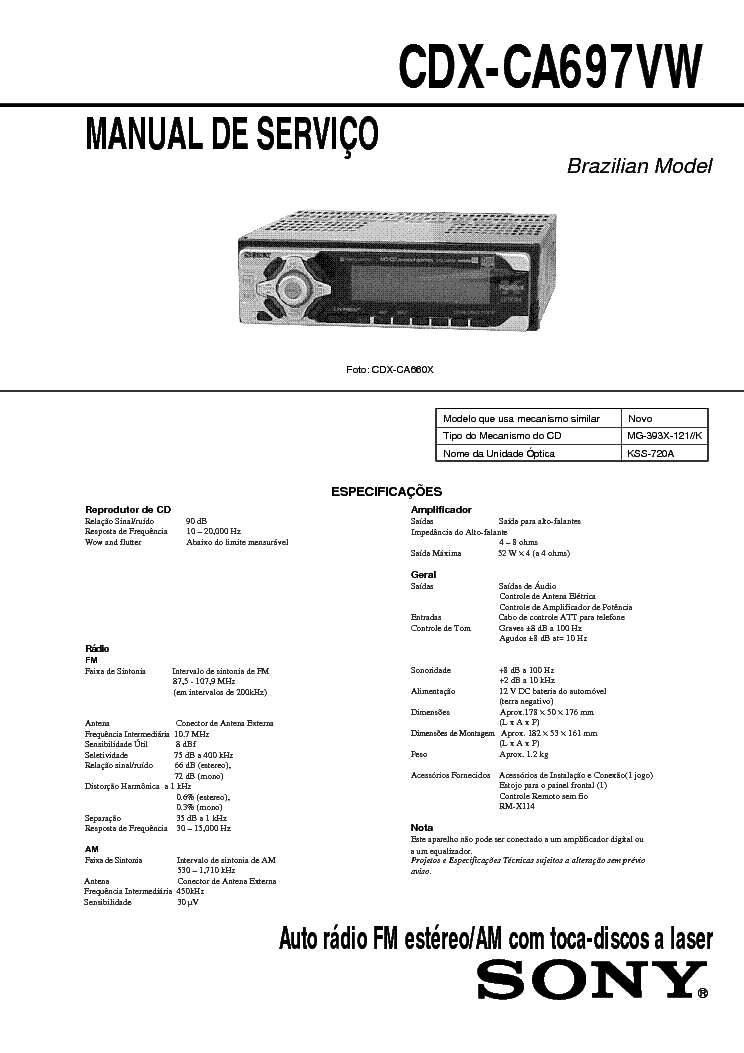 sony cdx 5260 5262 service manual schematics sony