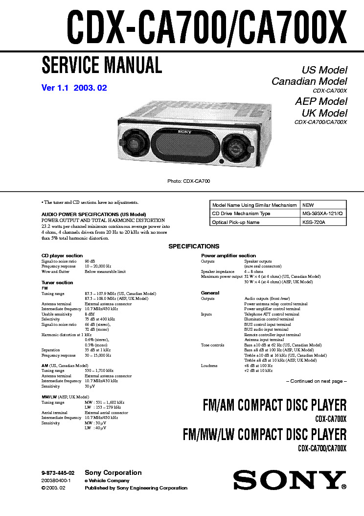 SONY CDX-CA700 CA700X VER-1.1 SM 2 Service Manual download ...
