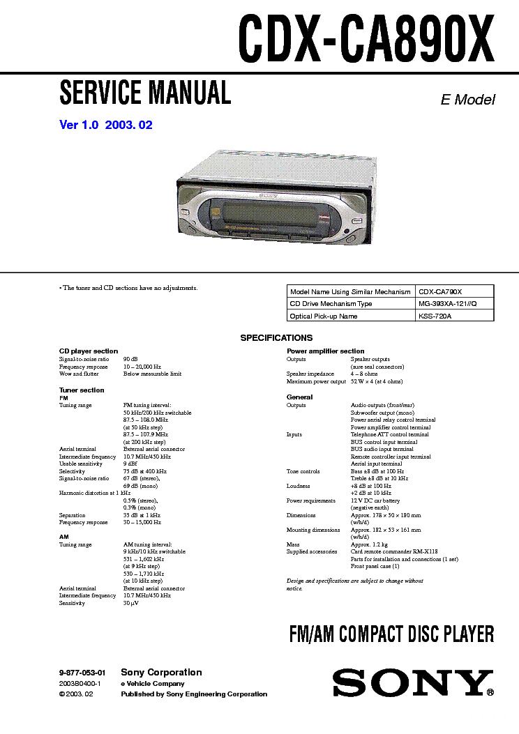 Автомагнитола Sony Cdx-A250ee Инструкция