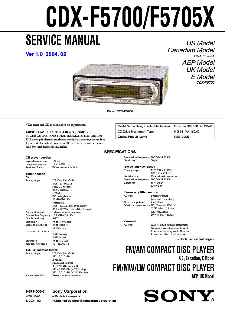 sony cdx f5700 f5705x service manual free schematics eeprom repair info for electronics