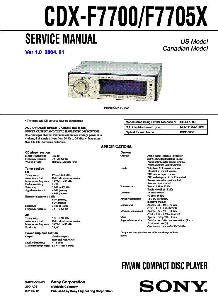 sony xm 6020 sm service manual free schematics eeprom repair info for electronics