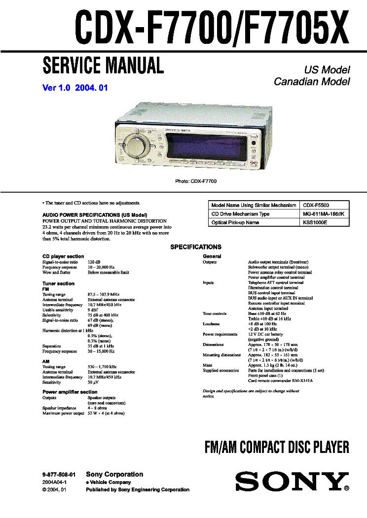 SONY CDX-F7700 F7705X VER-1.0 SCH Service Manual download ...