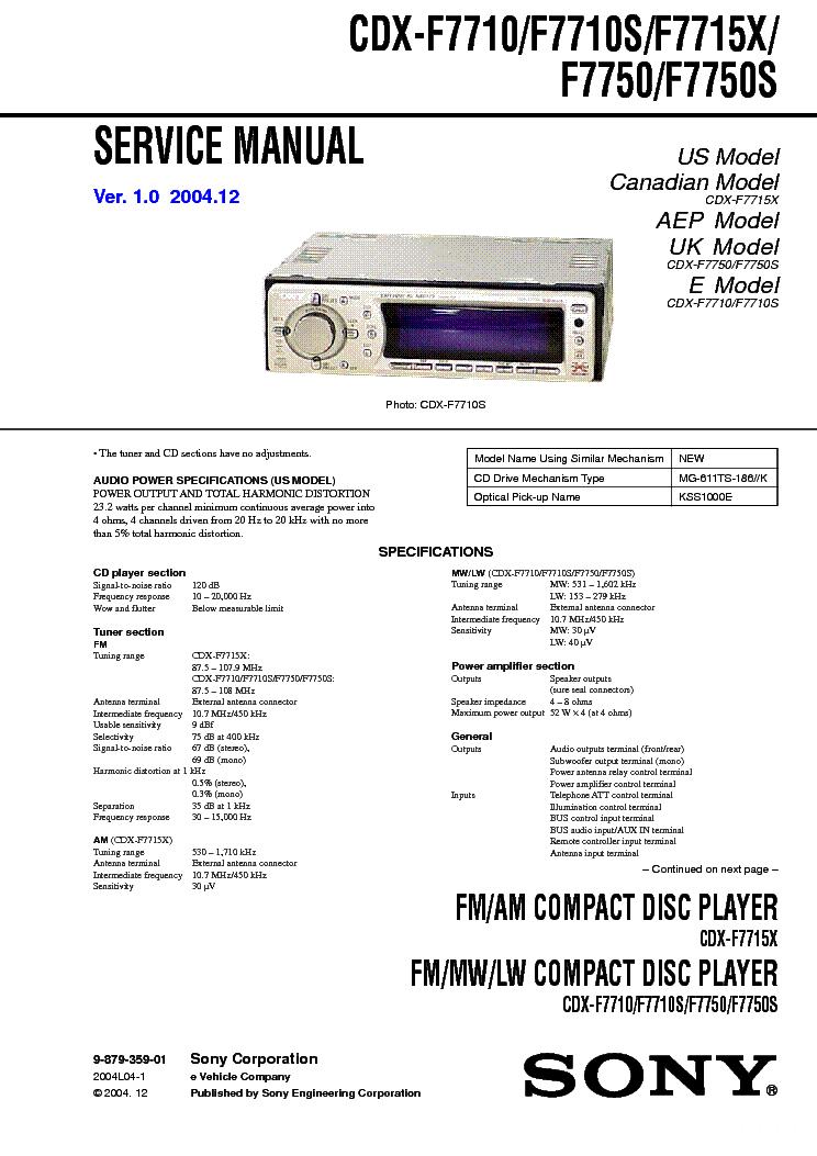 Инструкция на автомагнитолу sony cdx f7750