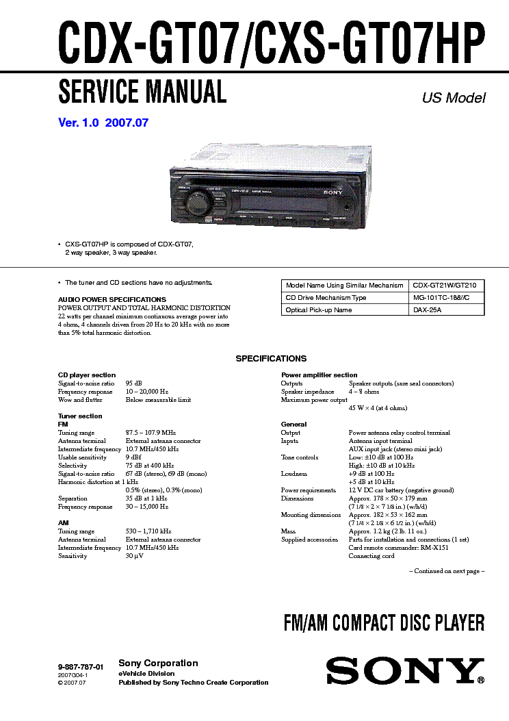 SONY CDX-GT07 CXS-GT07HP service manual