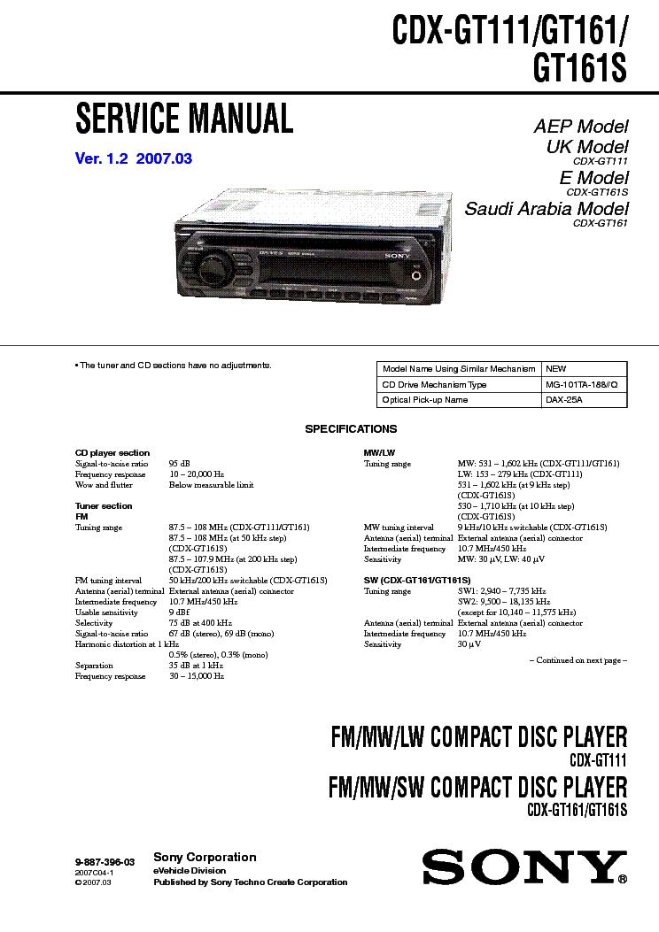 SONY CDX-GT111 GT161 GT161S