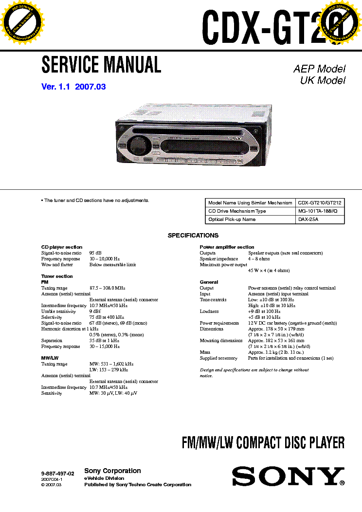 sony cdx m700r cdx m750 ver1 5 service manual sony