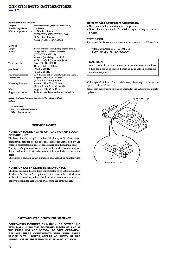sony cdx gt210 gt212 gt262 gt262s ver 1 3 sm service manual download Sony Radio Wiring Diagram