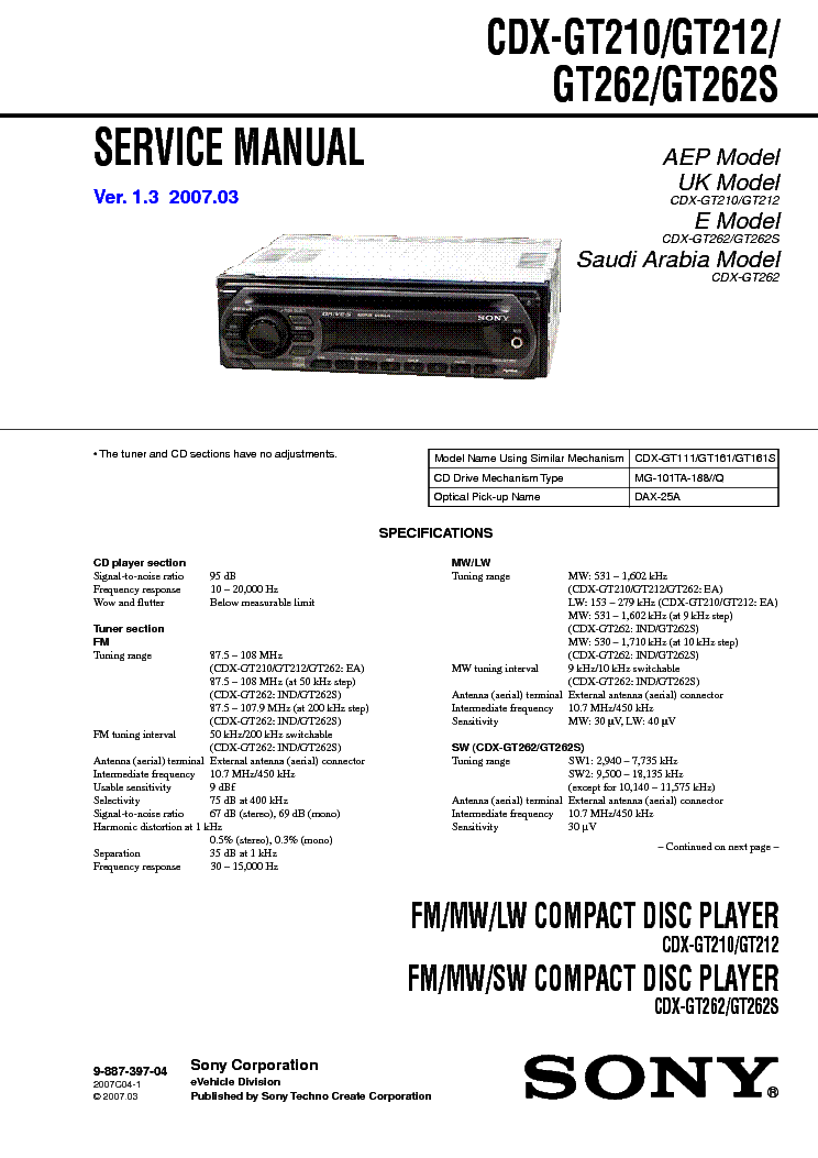 Sony Cdx Gt210 Wiring Diagram Sony Cdx-gt210 Installation Manual ...