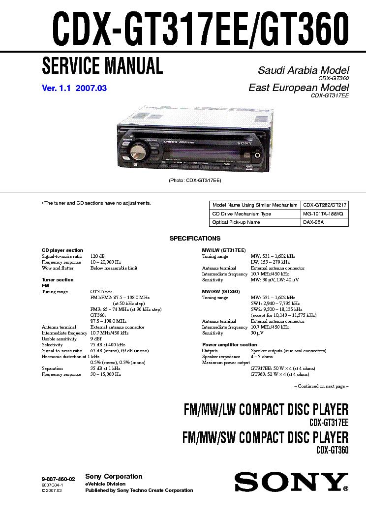 Автомагнитола Sony Cdx Gt317Ee