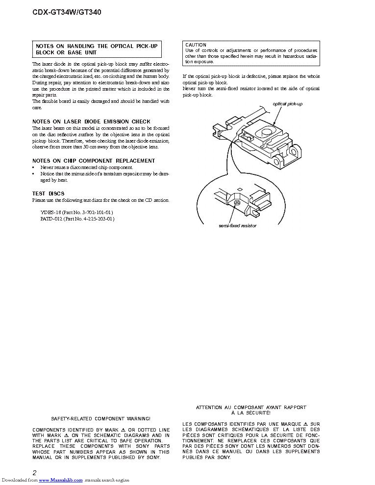 sony cdx gt34w gt340 ver 1 0 service manual download, schematics