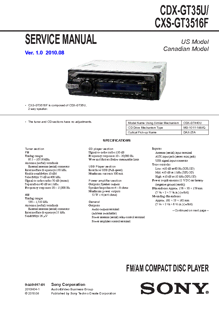 SONY CDX-GT35U CXS-GT3516F SM