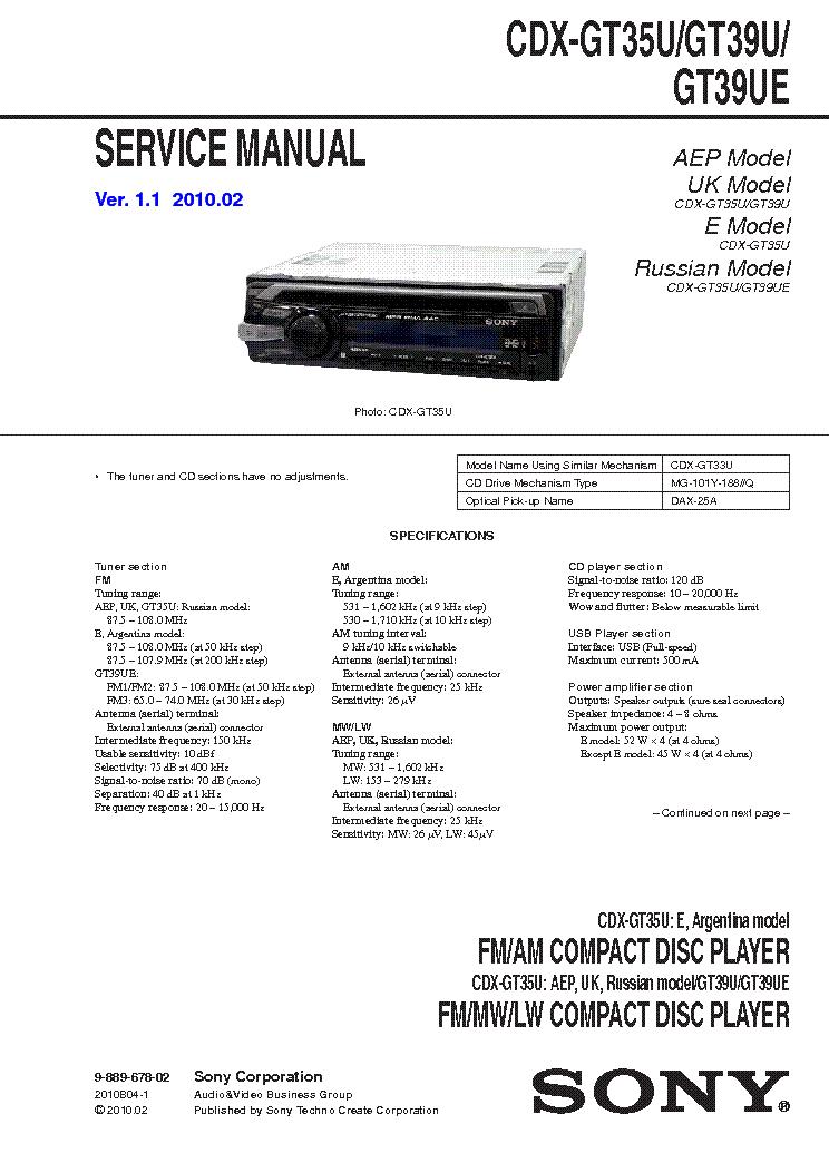 sony cdx-gt35u gt39u gt39ue service manual (1st page)