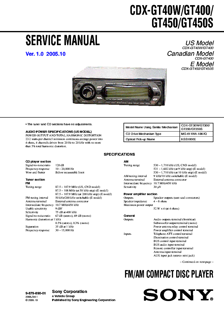 sony_cdx gt40w_cdx gt400_cdx gt450_cdx gt450s_ver1.0_sm.pdf_1 sony model cdx m610 wiring diagram wiring diagrams and schematics,Sony Cdx M600 Wiring Harness Diagram