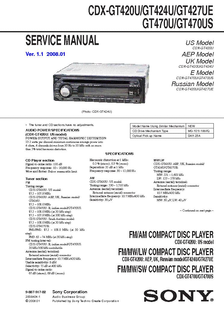 SONY CDX-GT420U,GT424U,GT427UE