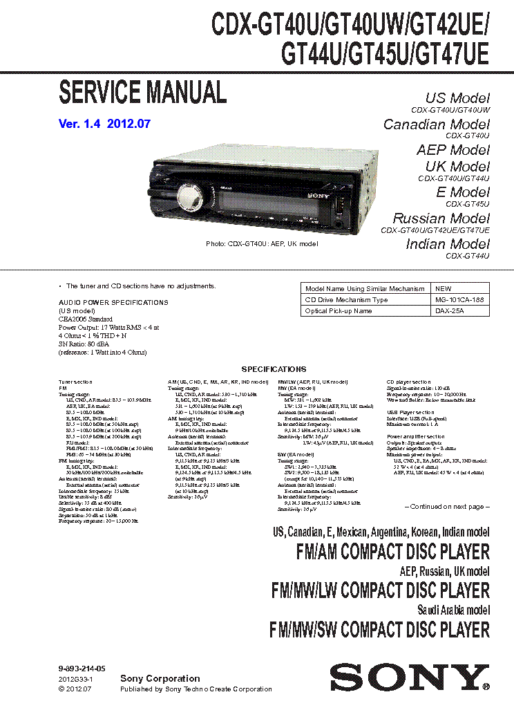 sony_cdx gt45u_sm.pdf_1 sony cdx gt45u sm service manual download, schematics, eeprom sony cdx m20 wiring diagram at gsmx.co