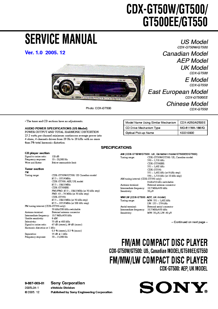 SONY CDX-GT50W, GT500,