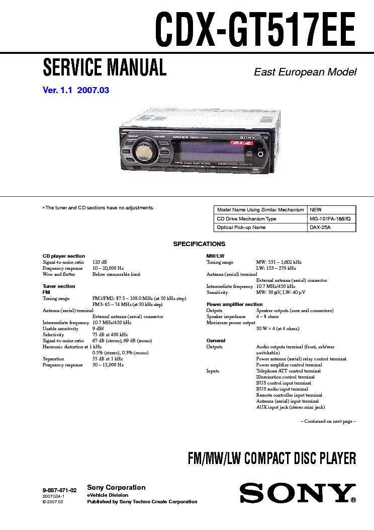 sony cdx gt600ui wiring diagram sony image wiring sony xr 4300rv c5300rv service manual schematics on sony cdx gt600ui wiring diagram
